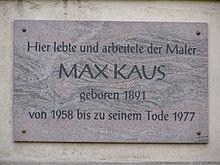 Max Kaus_Gedenktafel